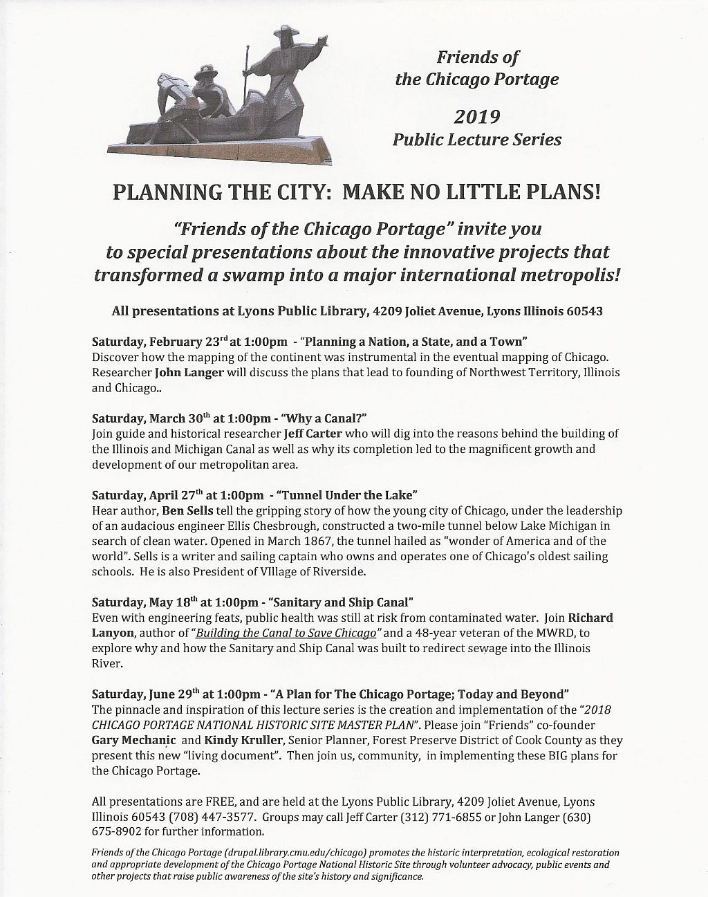 2019 Friends of the Chicago Portage Lecture Series poster
